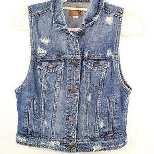 American Eagle Womens Juniors Size M Denim Vest